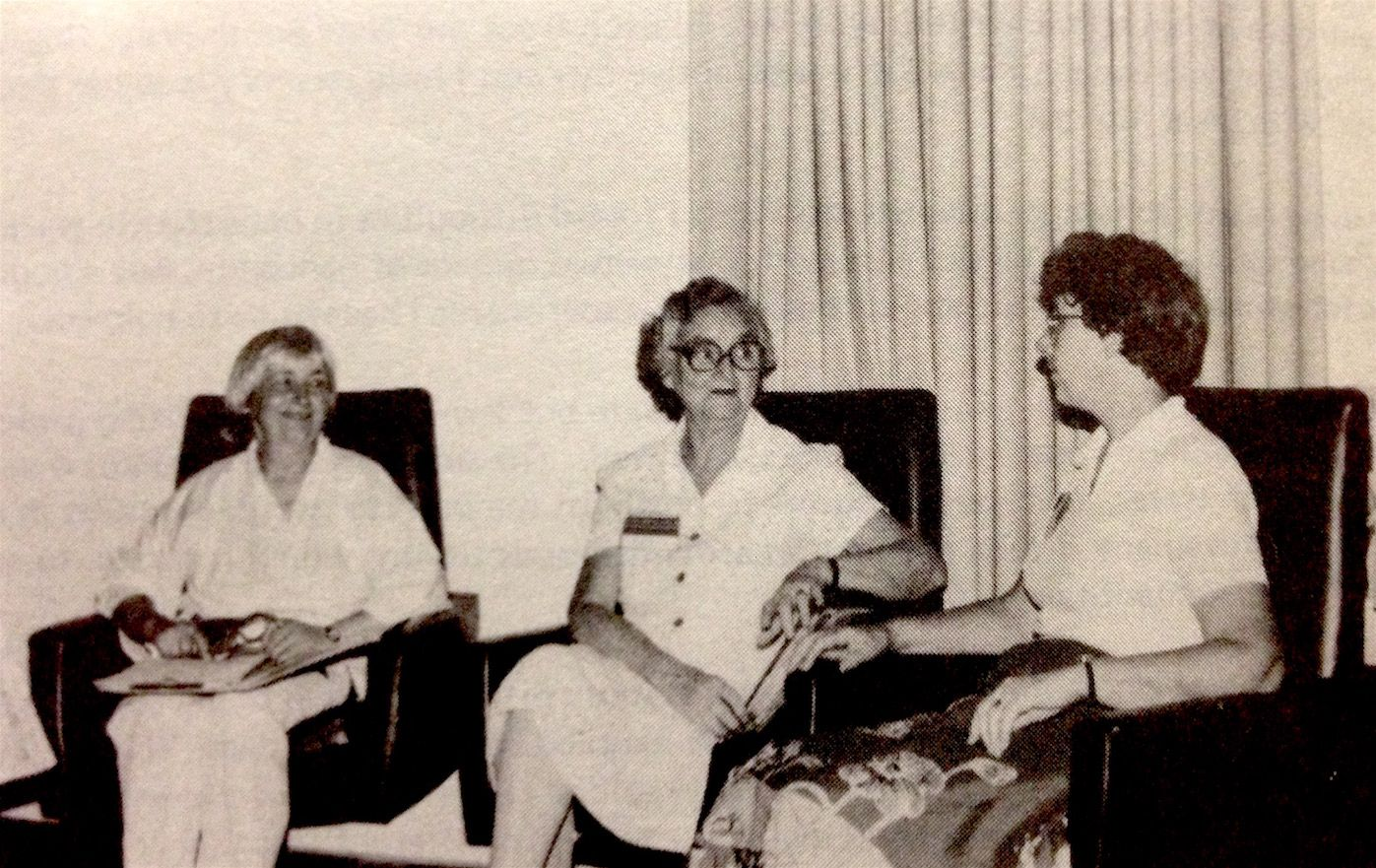 Photograph of Joan Bacon and two other women