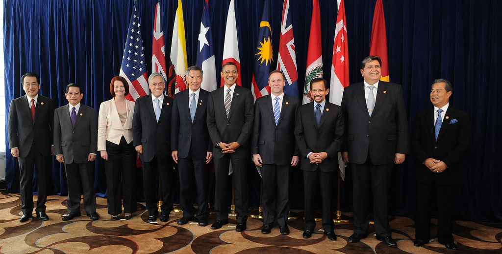 Photograph of the leaders of TPP member states grinning in front of their nations' flags.
