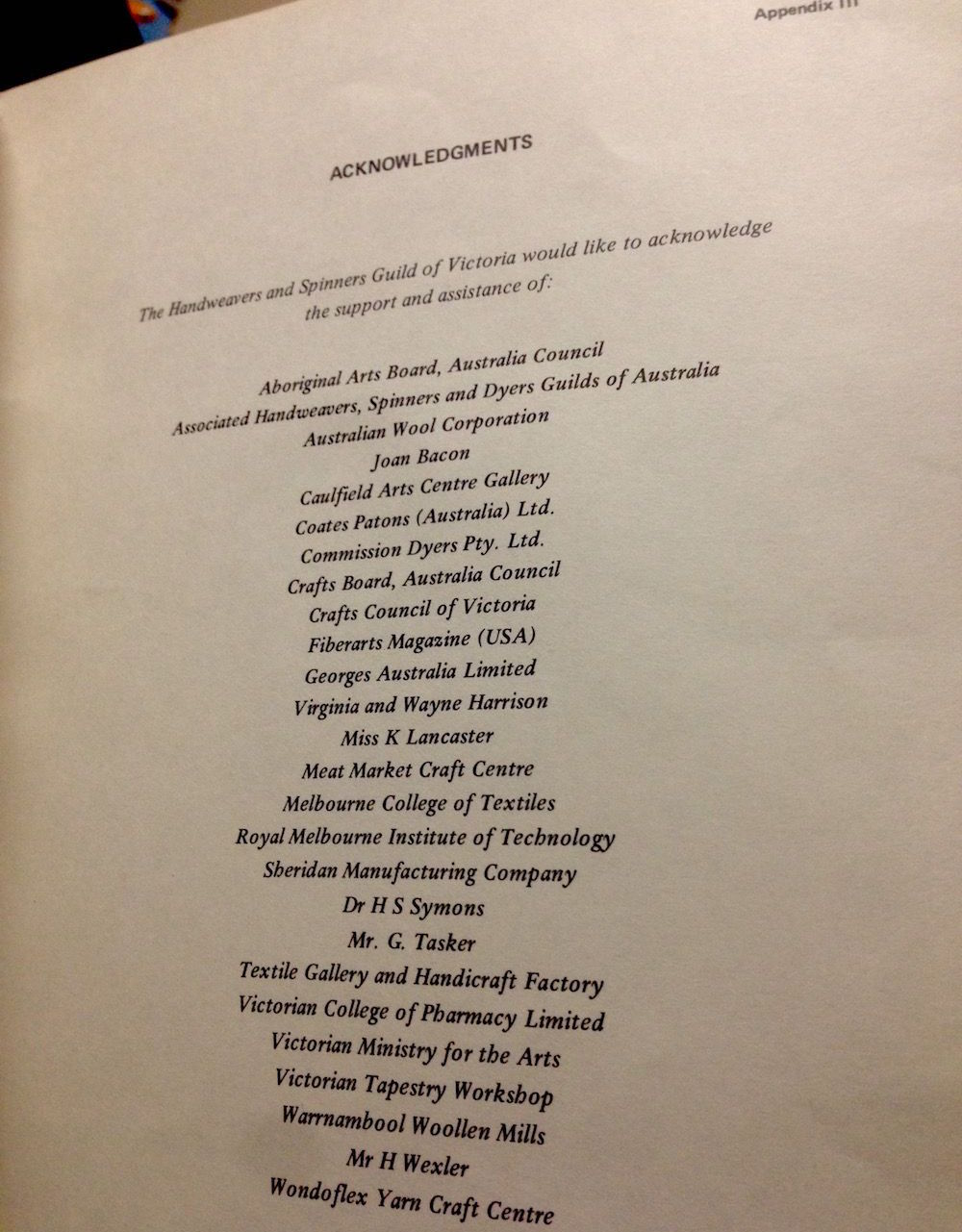 Photograph of the acknowledgements page of Wool and Beyond: First Australian Fibre Conference: Melbourne January 11-23 1981 (1982)